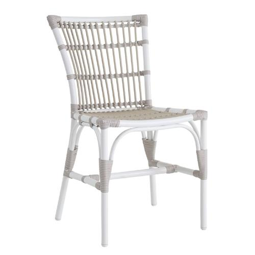 Miracle Coastal Beach White Aluminum Outdoor Dining SideChair | Kathy Kuo Home