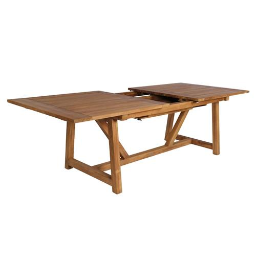 Jacob Rustic Lodge Brown Teak Outdoor Extension Table | Kathy Kuo Home