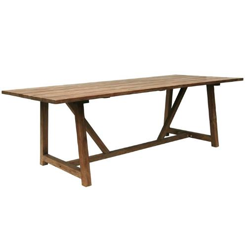 Jacob Rustic Lodge Brown Teak Outdoor Table | Kathy Kuo Home
