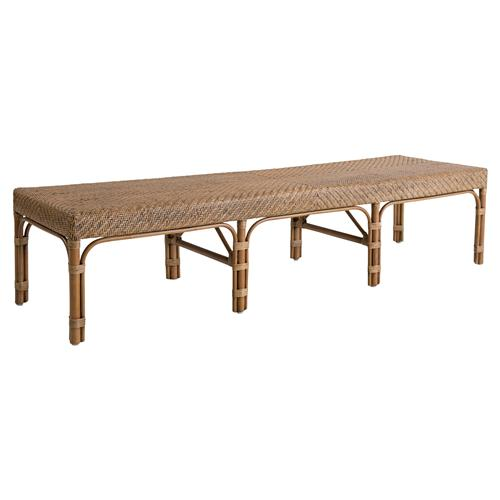 Londyn French Country Brown Rattan Bench | Kathy Kuo Home