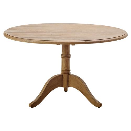 Cali Rustic Lodge Reclaimed Teak Round Pedestal Dining Table | Kathy Kuo Home
