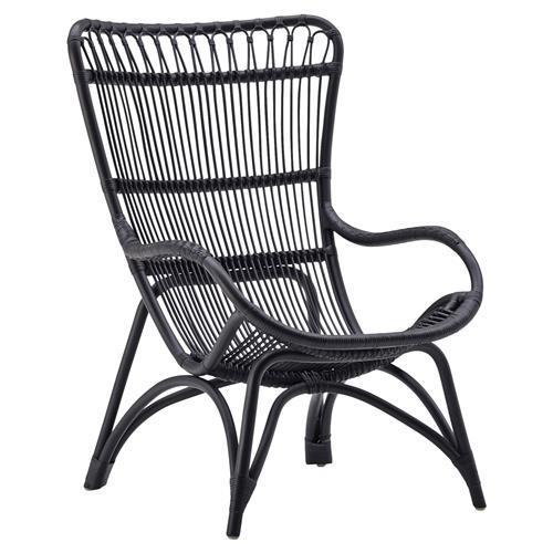 alexis coastal beach black rattan living room chair