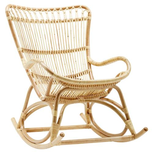 Alexis Coastal Beach Natural Rattan Rocking Occasional Chair | Kathy Kuo Home