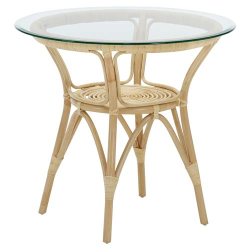 Abby French Country Natural Rattan Glass Top Round CoffeeTable | Kathy Kuo Home