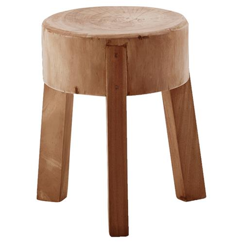 Noelle Rustic Lodge Brown Reclaimed Suar Wood Round Stool | Kathy Kuo Home