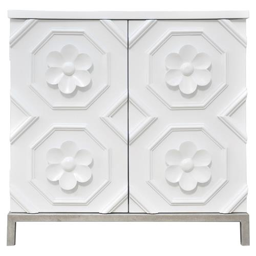 Oly Studio Tyrol Modern White Hardwood Flower Detail 2 Door Nightstand | Kathy Kuo Home