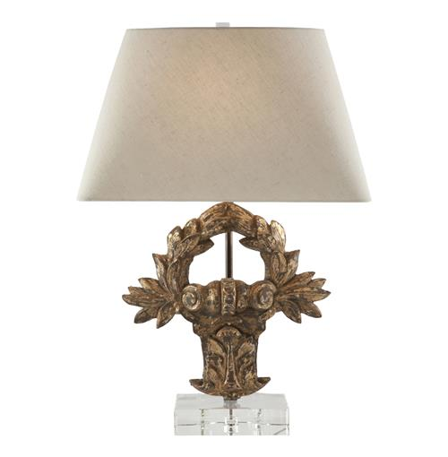 Pair Veneto Italian Rustic Laurel Crest Gold Gilt Table Lamp | Kathy Kuo Home