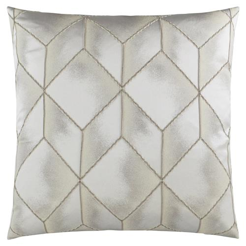 Julian Modern Classic Square Platinum Feather Down Pillow - 20 x 20 | Kathy Kuo Home