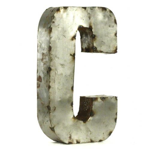 Industrial Rustic Metal Small Letter C 18 Inch | Kathy Kuo Home
