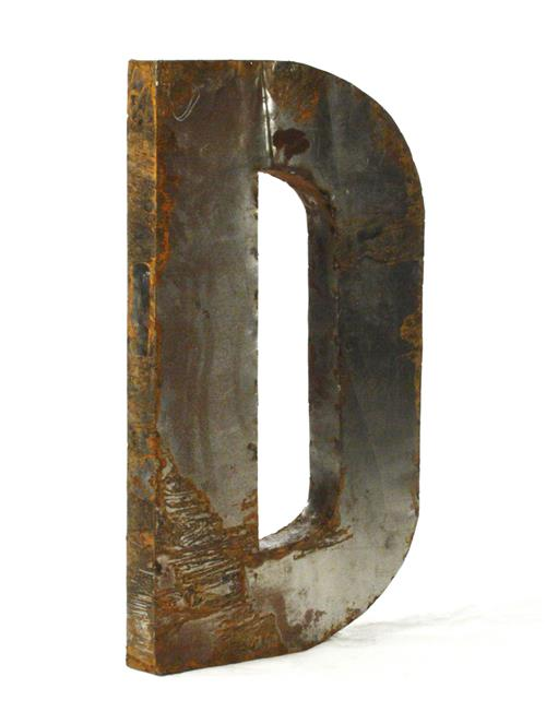 industrial rustic metal large letter d 36 inch kathy kuo home. Black Bedroom Furniture Sets. Home Design Ideas