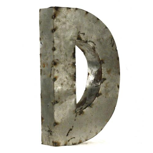 Industrial Rustic Metal Small Letter D 18 Inch | Kathy Kuo Home