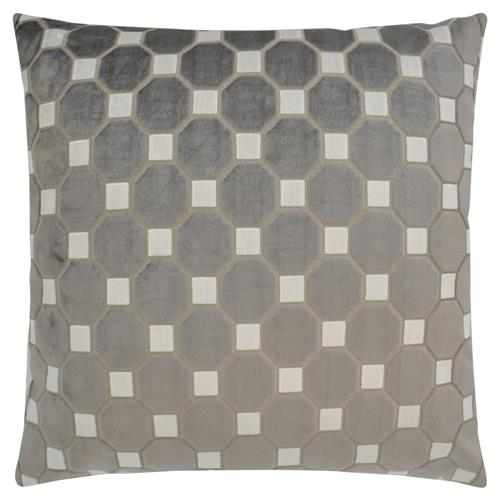 Leo Modern Classic Square Greystone Feather Down Pillow - 22 x 22 | Kathy Kuo Home