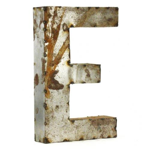 Industrial Rustic Metal Small Letter E 18 Inch | Kathy Kuo Home