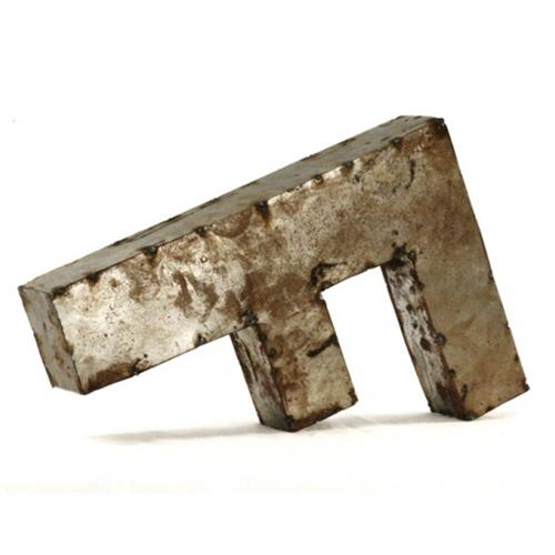 Industrial rustic metal small letter f 18 inch kathy kuo for 18 inch metal letters