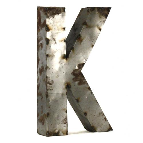 Industrial Rustic Metal Small Letter K 18 Inch | Kathy Kuo Home