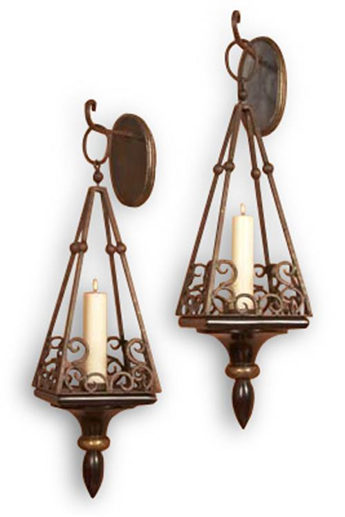 Pair Cap Serrat Wood and Iron Scroll Italianate Sconce | Kathy Kuo Home