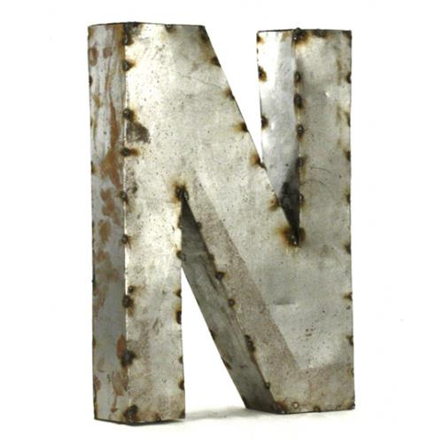 Industrial Rustic Metal Small Letter N 18 Inch | Kathy Kuo Home