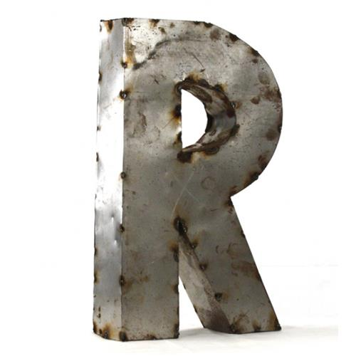 Industrial Rustic Metal Small Letter R 18 Inch | Kathy Kuo Home