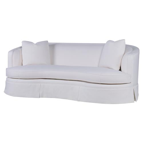 Highland House Rafa Modern White Cotton Feather Down Skirted Curved Sofa | Kathy Kuo Home