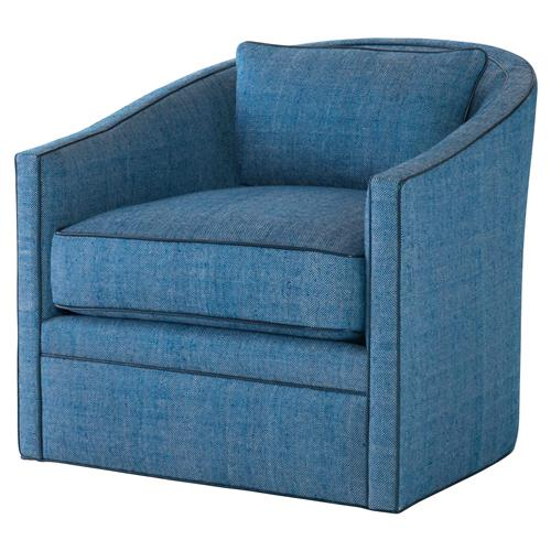 Highland House Colefax Modern Blue Silk Feather Down Swivel Accent Chair | Kathy Kuo Home