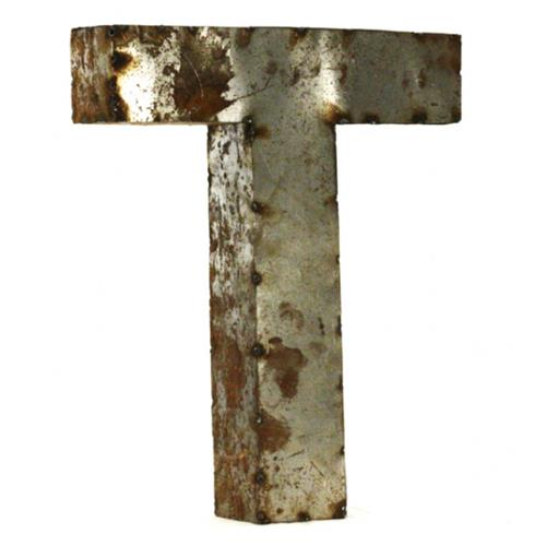 Industrial rustic metal small letter t 18 inch kathy kuo for 18 inch metal letters