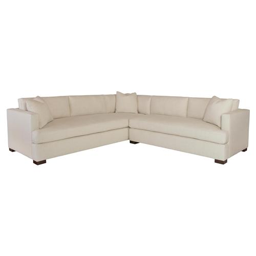 Highland House Saxton Linen Feather Down Sectional Sofa - Right Arm Facing | Kathy Kuo Home