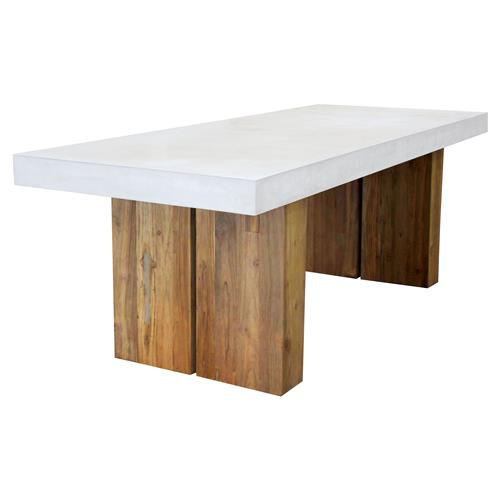 Cooper Modern Rectangular White Concrete Teak Base Outdoor Dining Table - Small | Kathy Kuo Home