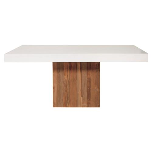 Cooper Modern Rectangular White Concrete Pedestal Outdoor Dining Table Kathy Kuo Home