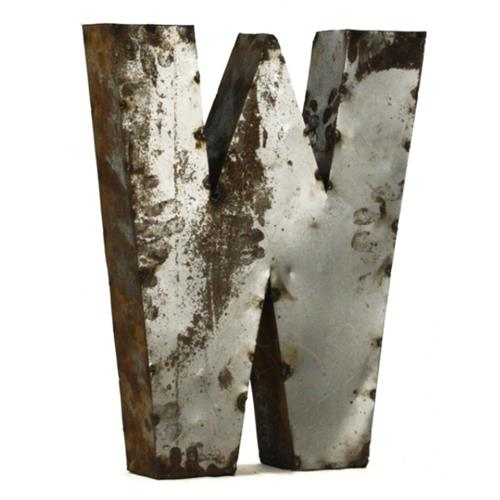 Industrial Rustic Metal Small Letter W 18 Inch | Kathy Kuo Home