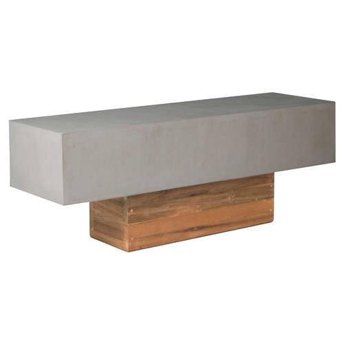 Modern Concrete Benches: Cooper Modern Rectangular Grey Concrete Top Teak Base