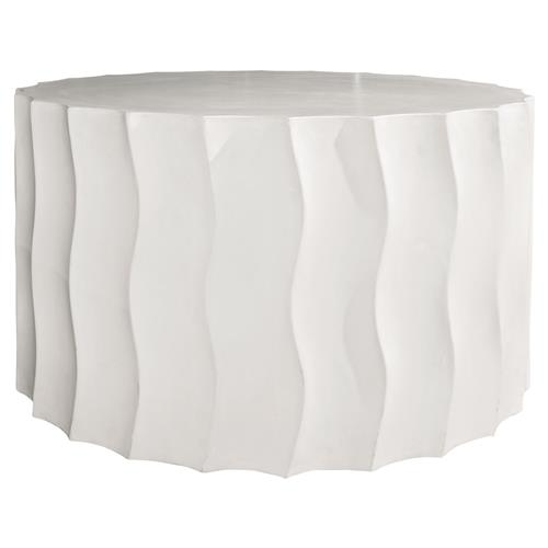 Cory Modern Round White Concrete Outdoor Side End Table - Wide | Kathy Kuo Home