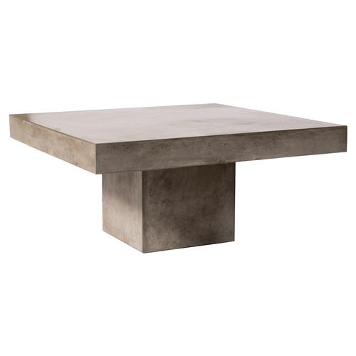 Chad Modern Square Grey Concrete Tall Outdoor Coffee Table | Kathy Kuo Home