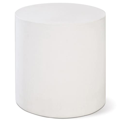 Cara Modern Round White Concrete Outdoor Side End Table | Kathy Kuo Home