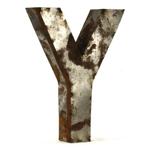 Industrial Rustic Metal Small Letter Y 18 Inch | Kathy Kuo Home
