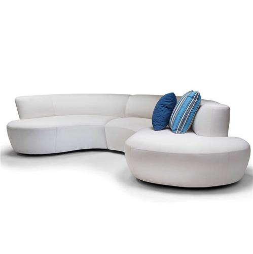 Iris Modern Beige Outdoor Arm 3 Piece Sectional - Right Arm Facing | Kathy Kuo Home
