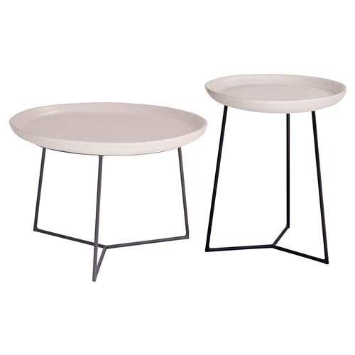 Kate Modern Round White Ceramic Top Metal Outdoor Side End Table | Kathy Kuo Home