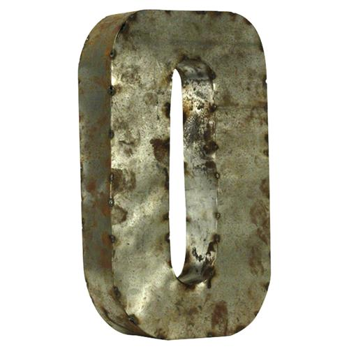 18 Inch Industrial Rustic Metal Small Number 0 | Kathy Kuo Home