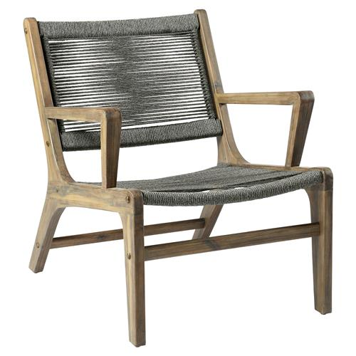 Santiago Coastal Regatta Rope Acacia Wood Outdoor Lounge Chair | Kathy Kuo Home