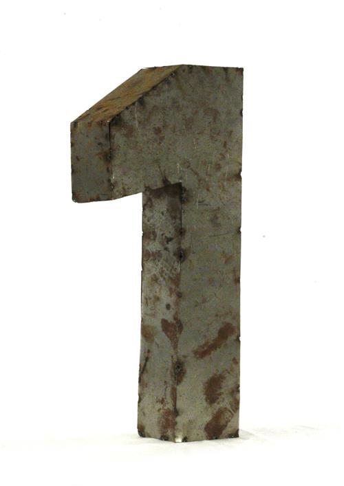 18 Inch Industrial Rustic Metal Small Number 1 | Kathy Kuo Home