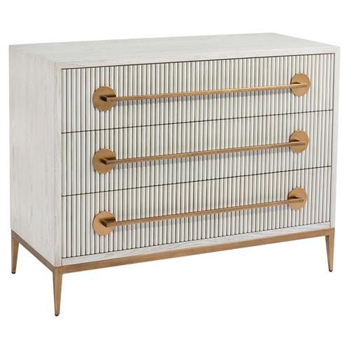 John Richard Modern Classic Carlyle Ash Gold Handle Three Drawer Chest | Kathy Kuo Home