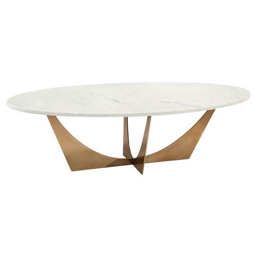 John Richard Modern Classic Marble Brass Oval Cocktail Table | Kathy Kuo Home