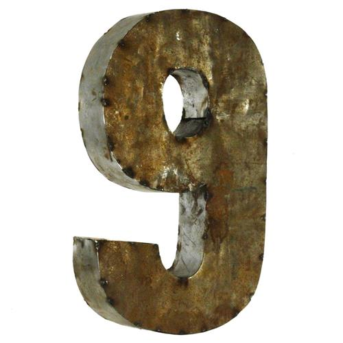 18 Inch Industrial Rustic Metal Small Number 9 | Kathy Kuo Home
