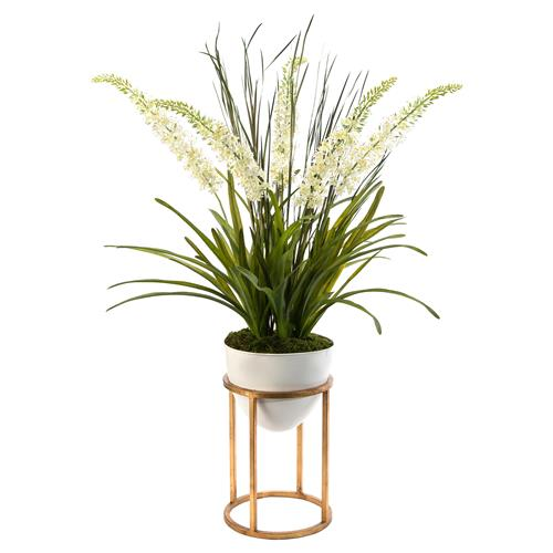 John-Richard Modern Classic Foxtail Forest White Vase Gold Leaf Stand Plant | Kathy Kuo Home