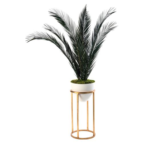 John Richard Modern Classic Mid-Century White Vase Gold Stand Palm | Kathy Kuo Home