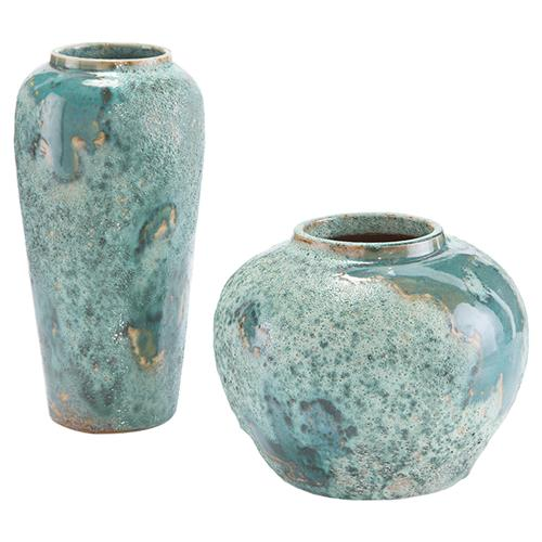 John Richard Coastal Beach Set Of Two Sea Foam Vase | Kathy Kuo Home
