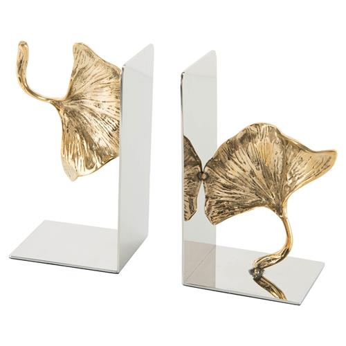 John Richard Hollywood Regency Pair Of Ginkgo Gold Leaf Nickel Bracket Bookend | Kathy Kuo Home