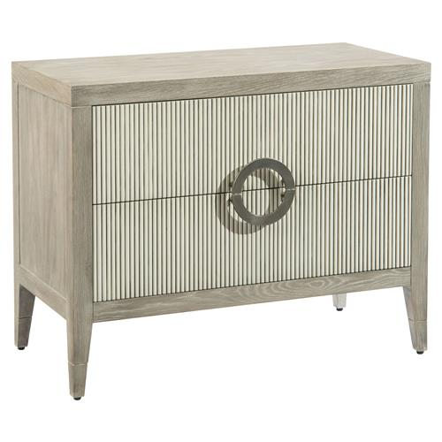 John Richard Modern Classic Perth Grey Oak Reed Front Bachelor Chest | Kathy Kuo Home