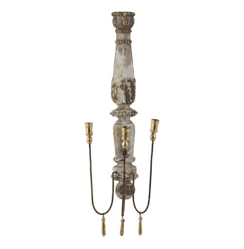 French Country Chateau Pinot 3 Taper Candle Wall Sconce | Kathy Kuo Home