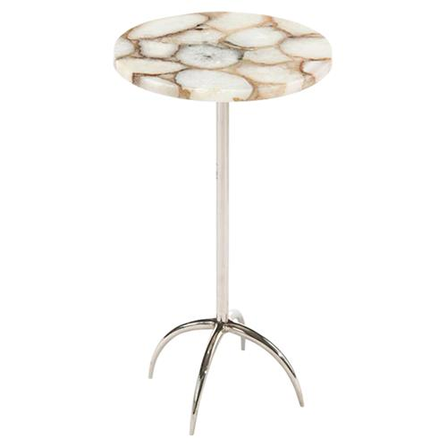 John-Richard Modern Classic Agate Nickel Base Drink Table | Kathy Kuo Home