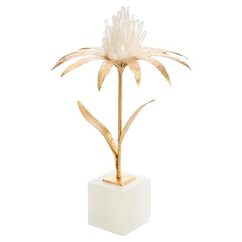 John Richard Modern-Classic Quartz Daisy Alabaster Base Gold Crystal Floral | Kathy Kuo Home